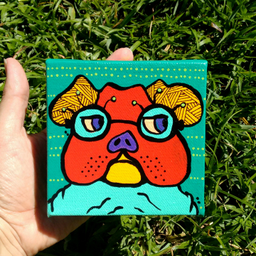 Mini Bulldog on canvas