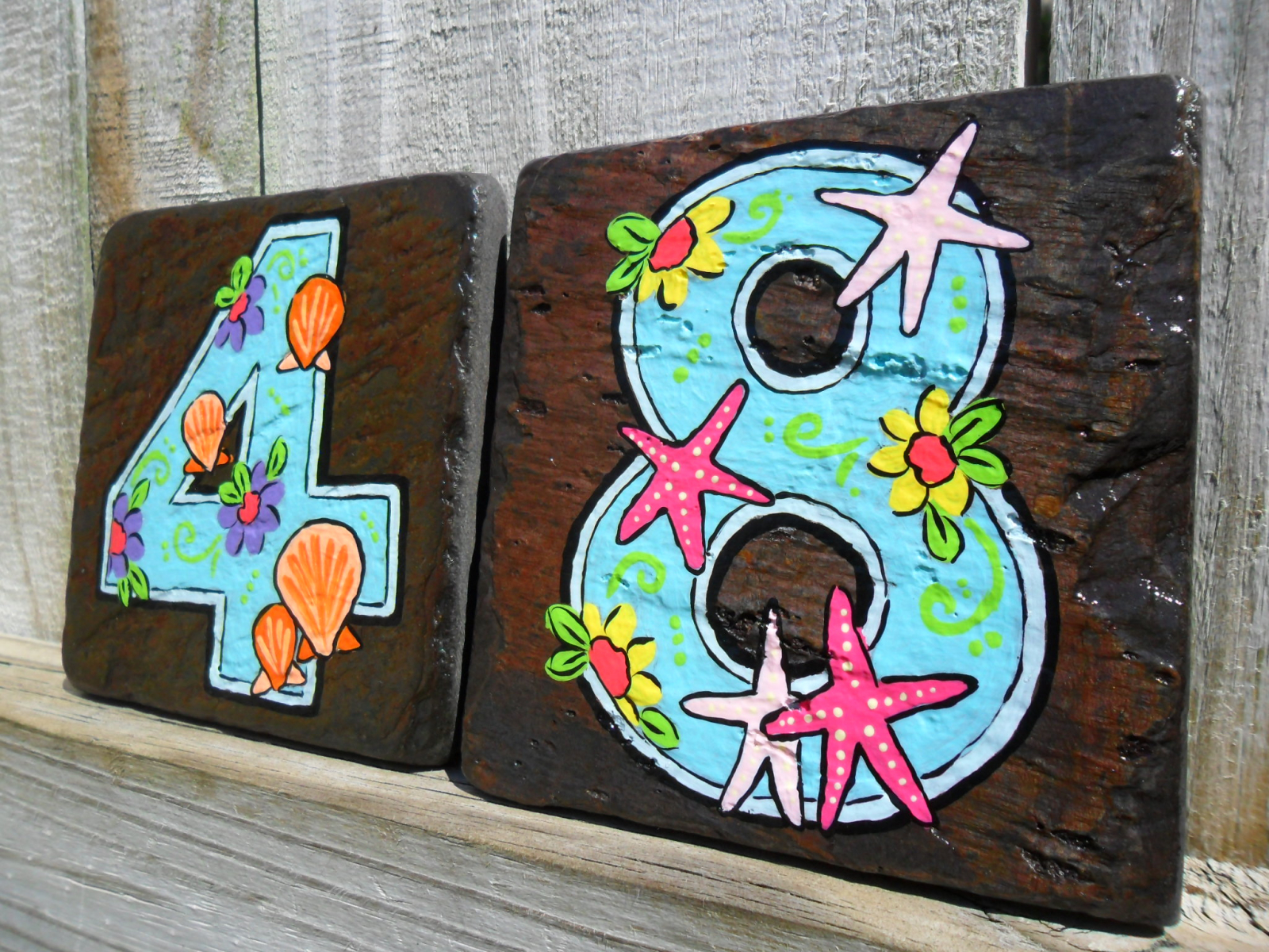 Painted Tile House Numbers