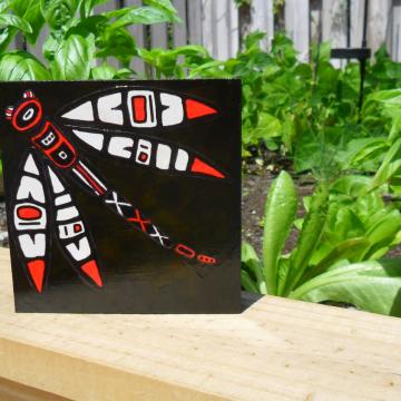 Dragonfly Art Block on Wood
