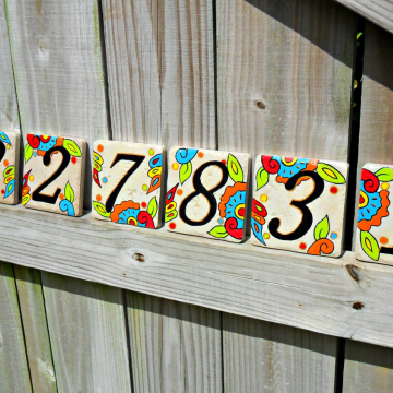 Hand painted house numbers address tiles SPANISH