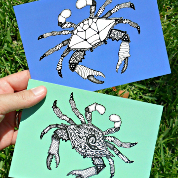 Crab and Ocean Animal Art Postcards