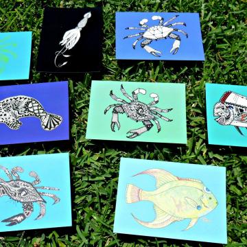 Crab and Ocean Animal Art Postcards