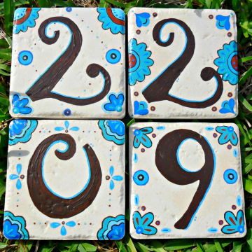 MEXICO address house numbers blue and brown