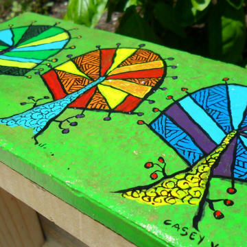 Original acrylic painting on tile green kaleidoscope