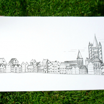 Pen illustration Sketchy Town black and white