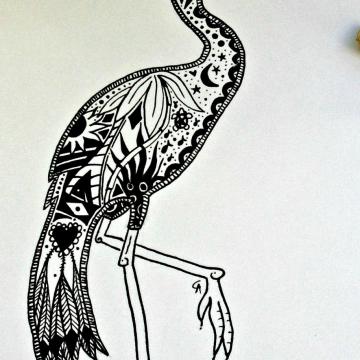 Florida Egret ink illustration bird