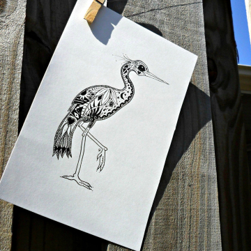 Florida Egret ink illustration bird