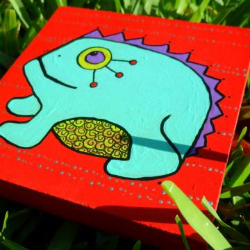 blue frog childrens wood art block