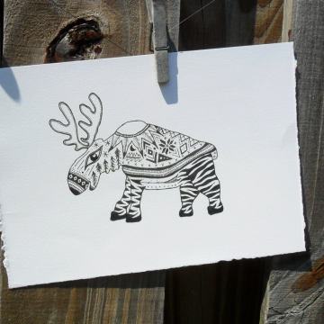 Moose Illustration - original artwork Hooper