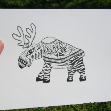 Moose Illustration - original artwork Hooper
