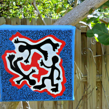 mini 4 x 4 painting Let's Dance art in blue and red