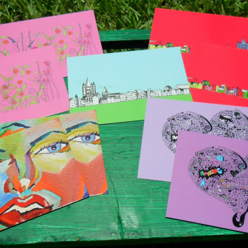 Art postcards fun note cards
