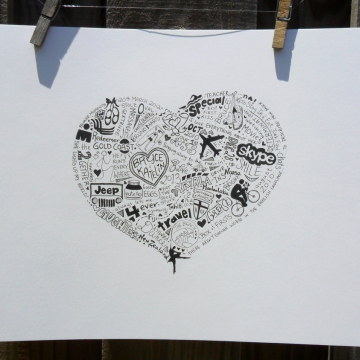 8 x 10 Personalized Illustrations Heart Shape
