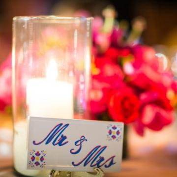 Mr & Mrs reception head table tile