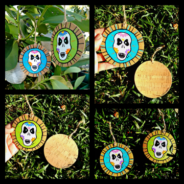 Sugar Skull Ornaments Cork and Wood