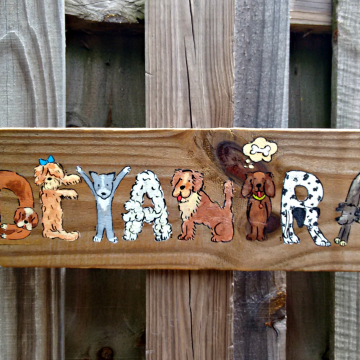 Dog alphabet letters and numbers wood signs