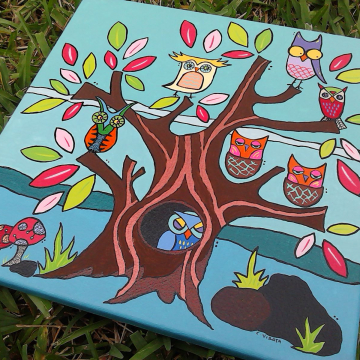 Owls in a Tree canvas