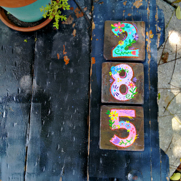 Boho house numbers on tile