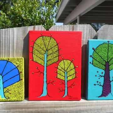 Three trees paintings