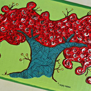 royal poinciana tree on wood block