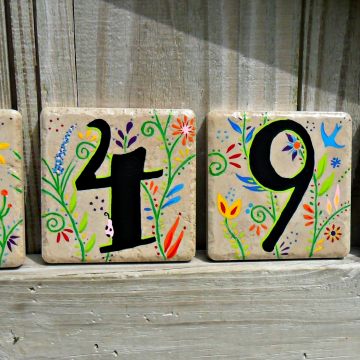 Garden Party Home Numbers Address Tiles