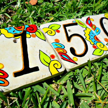 Hand painted address House Numbers-spanish limon