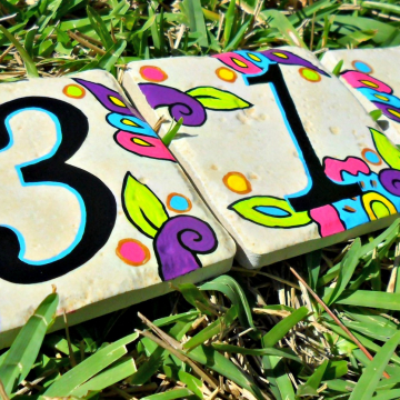 Hand painted address House Numbers- KEY WEST