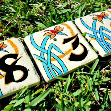 Hand painted address House Numbers-ZEN II
