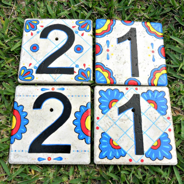 Hand painted address House Numbers MEXICO tile
