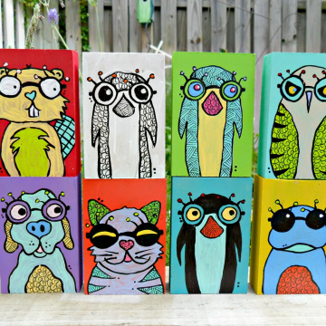 Animals with Glasses art blocks