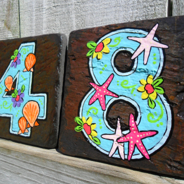 Hand painted house numbers address tiles BEACH SLATE