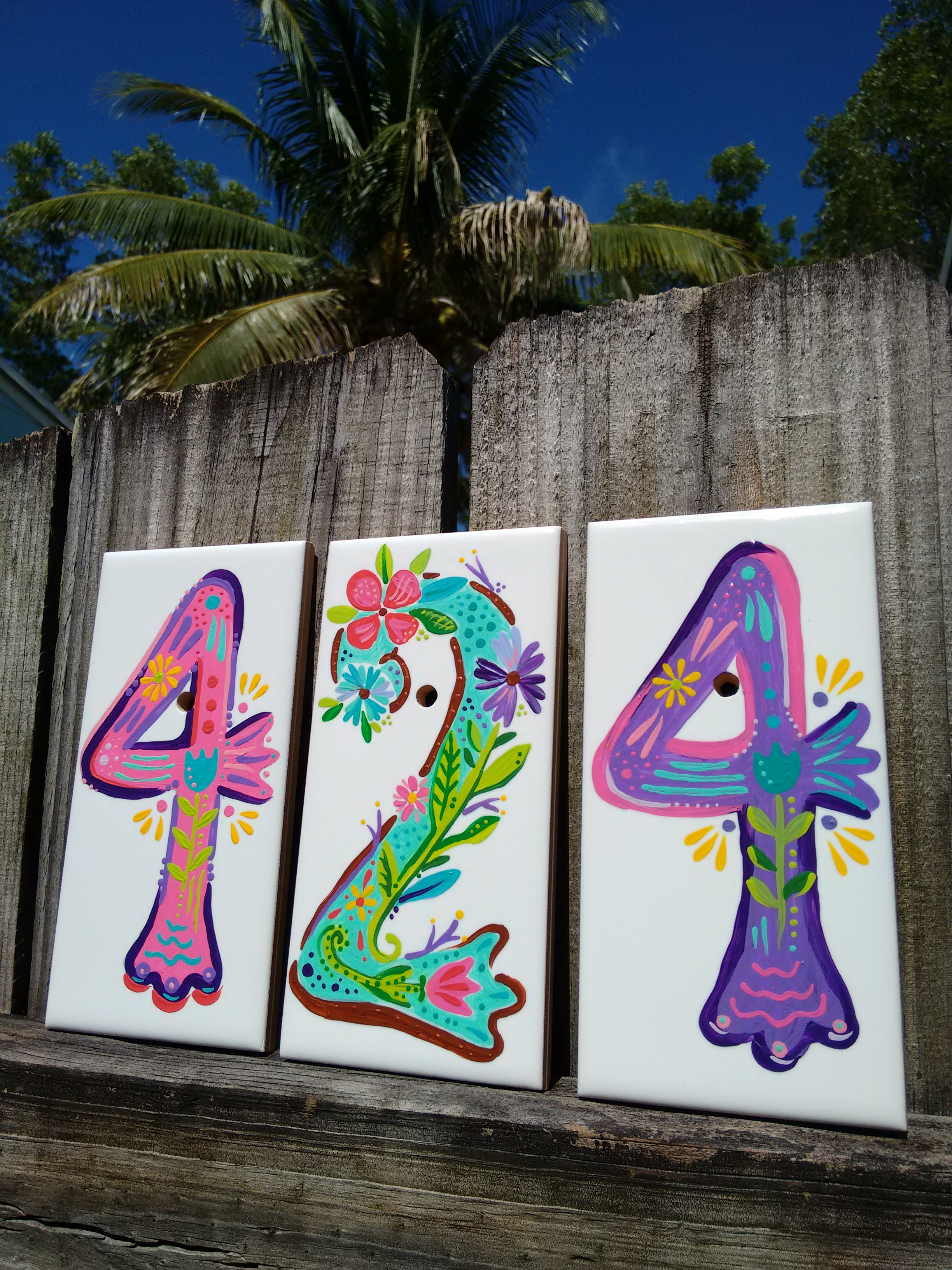 Hand painted address numbers luckii arts casey virata boho house numbers on tile dailygadgetfo Image collections